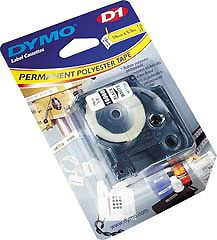 Dymo D1 Tape Polyester White/Black 19mm