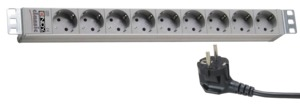 9-socket Extension Lead, 2 m, Grey