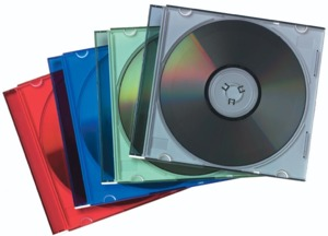Fellowes Slimline CD Cases, Col., 25x