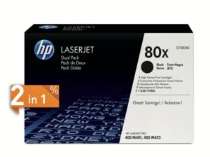 HP 80X Toner Black 2-Pack