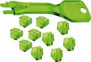 RJ45 Port Blockers, Green 10pcs. + 1 Key