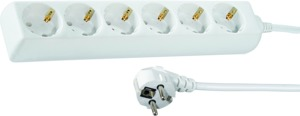 6-socket Extension Lead, 1.4m, White