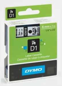 Ruban Dymo D1 transparent/noir, 6 mm