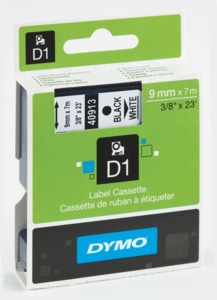 Dymo D1 Label Tape White/Black 9mm