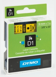 Dymo D1 Label Tape Yellow/Black 9mm