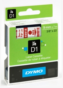 Ruban Dymo D1 blanc/rouge, 9 mm