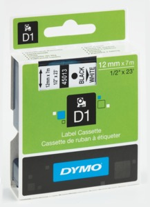 Dymo D1 Label Tape Black/White 12mm