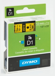 Dymo D1 Label Tape Yellow/Black 12mm