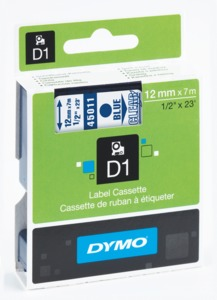 Ruban Dymo D1 transparent/bleu, 12 mm