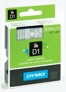 Dymo D1 Label Tape White/Black 12mm