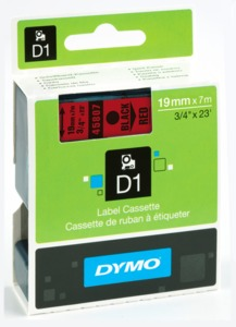 Dymo D1 Label Tape Red/Black 19mm