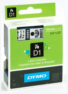 Dymo D1 Label Tape White/Black 19mm