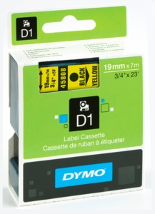 Dymo D1 Label Tape Yellow/Black 19mm