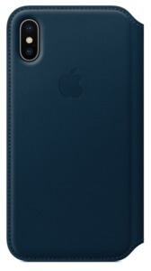 Funda piel Apple iPhone X azul
