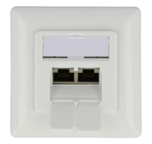 RJ45 Outlet FM 2x LSA+ Cat6a White