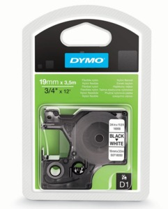 Dymo D1 Tape Nylon White/Black 19mm